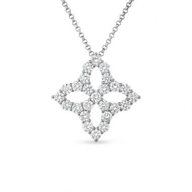 Roberto Coin 18K White Gold Princess Flower Necklace
