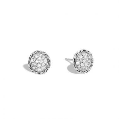 John Hardy Silver Classic Chain Women's Diamond Stud Earrings