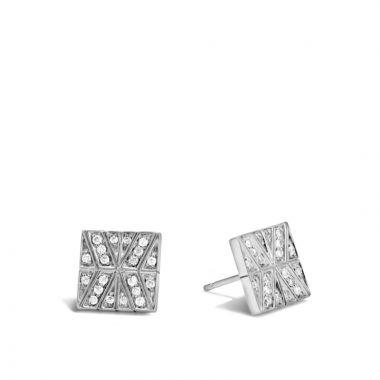 John Hardy Silver Modern Chain Women's Diamond Stud Earrings