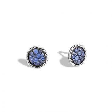 John Hardy Silver Classic Chain Women's Gemstone Stud Earrings