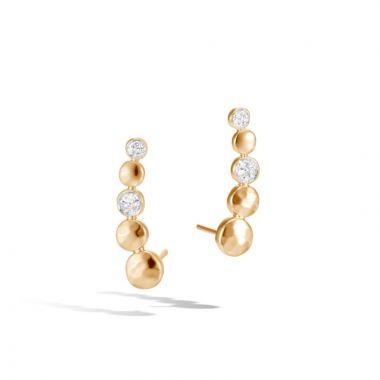 John Hardy 18k Gold Dot Women's Diamond Earrings