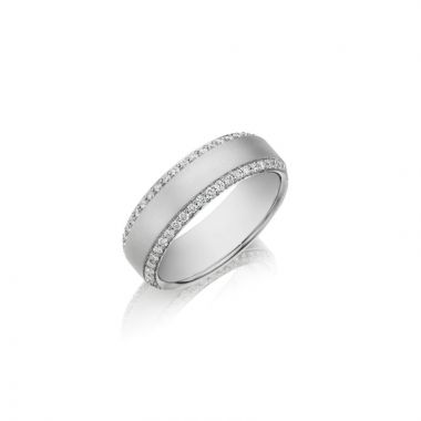 Henri Daussi 18k White Gold Diamond Mens Wedding Band