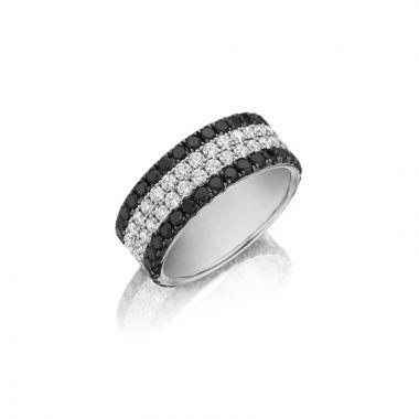 Henri Daussi 14k White Gold Diamond Mens Wedding Band