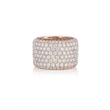 Henri Daussi 14k Rose Gold Diamond Womens Wedding Band