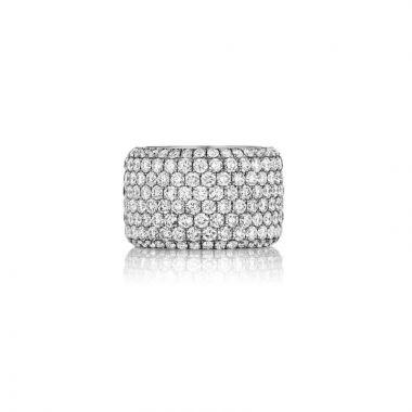 Henri Daussi 18k White Gold Diamond Womens Wedding Band