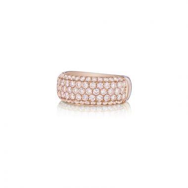 Henri Daussi 18k Rose Gold Diamond Womens Wedding Band