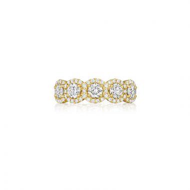 Henri Daussi 14k Yellow Gold Diamond Womens Wedding Band