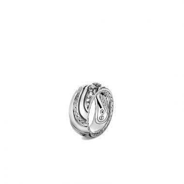 John Hardy Silver Lahar Women's Diamond Ring